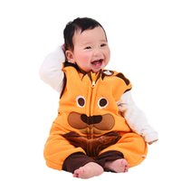 Wholesale Baby Red Overalls - Baby Rompers Winter Warm Fleece Clothing Set for Boys Cartoon Monkey Infant Girls Clothes Newborn Overalls Baby Jumpsuit XHY031
