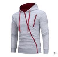 çok fermuarlık kazak toptan satış-Kış kazak Mens sınır-üstü eğik fermuarlı çok Zip Kapşonlu casual Kazak Hoodie coat renk
