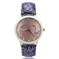relógio de quartzo flor das senhoras venda por atacado-As senhoras da flor da correia olham o relógio de quartzo simples da escala do elefante