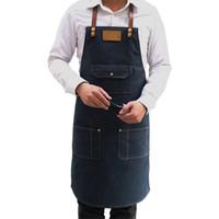 avental geral venda por atacado-Avental do denim do cozinheiro chefe Avental de cozimento da cozinha Mulher Men Restaurant Coffee Shop Uniform Overall Pinafore Sleeveless Apron