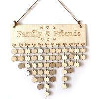 Wholesale Friends Decor - DIY Wooden Birthday Calendar Board Family Friends Birthday Calendar Sign Special Dates Planner Board Hanging Decor Gift