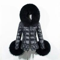 Wholesale Ladies Hooded Leather Jacket - 2018 New Women's Fox Fur Down Jacket Coat Female fashion short Slim Ladies Hooded Padded Black Outwear