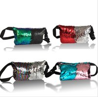Wholesale Waist Sequin Belts - Sequin Glitter Waist Fanny Pack Belt Bum Bag creative Pouch Mermaid Sequin Purse bag Pouch pocket Clutch Sequins waist bag 171229001