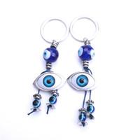 голубые глаза индейки оптовых-1pc turkey evil eye blue owl elephant animal key chain keyring for women handbag decoration keychain jewelry accessories