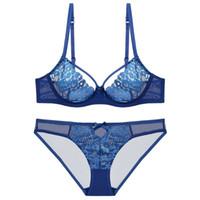 bf2e3d57d Sutiã e Conjunto de Calcinha Sexy Malha Transparente Underwear Push Up  Ultra-fino Rendas Bordado Lingerie Respirável Sem Costura para o Sexo  Feminino NOVA