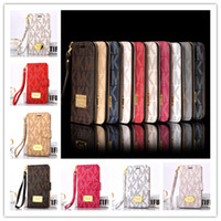 Wholesale Iphone Case Lanyard Wallet - Luxury Wallet Flip PU Leather Case for iphone x 7 8 6s plus Card Slot Pocket letter Case with Lanyard Holder Cover for Samsung s8 note 8 hot