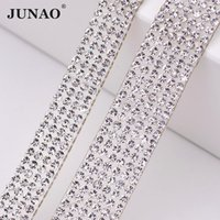 JUNAO 5 Yard Hotfix Clear Glass Rhinestones Chain Trim Crystal Fabric  Applique Strass Band For DIY Jewelry Dress Home Decor c31c5e7f0c22