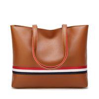 Wholesale lap bags - Big bag woman American and European Colour Tote bag 2018 New large capacity Women's bag 100 lap stripes single shoulder handbag