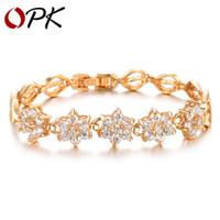 Wholesale opk jewelry - OPK Fashion Women Link Chain Bracelets Romantic Flower Design Gold Color + AAA+ Cubic Zircon Wedding Jewelry KS441