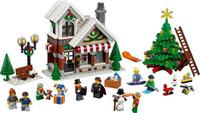 construir bloques de casa al por mayor-945 unids bloques de construcción de casa de Navidad bloques de ladrillos juguetes con árbol de navidad para los niños regalo de cumpleaños al por mayor