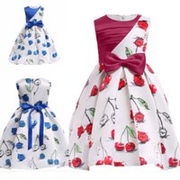 Wholesale cheap christmas costumes - 2018 Printed Cheery Red Blue Flower Girl Dress with Bow Crew Neck Sleeveless Toddler Kids Formal Dress Costume Stage Wears Cheap MC1687