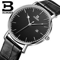роскошные ультратонкие часы оптовых-Швейцария BINGER мужские часы люксовый бренд кварцевый кожаный ремешок ультратонкий Полный календарь наручные часы водонепроницаемый B3053M-2