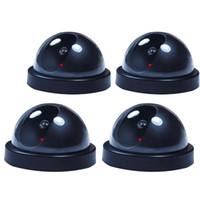 поддельный купол cctv оптовых-4 PCs Fake Dummy Dome Surveillance Security Camera CCTV w/ Record Flash Light