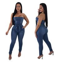calça jeans geral venda por atacado-Macacões das mulheres Denim Moda Macacão Sexy Elastic Mulheres Bow Bra Jumpsuit Jeans Sem Mangas Casual Macacão Macacões Casuais