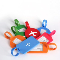 Wholesale Gel Labels - Candy Color Silica Gel Bag Tags Resuable Rectangle Round Shape Handbag Label Airplane Pattern Silicone Travel Luggage Tag Red 2 7kg B