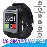 ingrosso scatola astuta dell'orologio di u8-U8 Smart orologio Bluetooth Smartwatch touch screen da polso con SIM Card intelligente orologio cellulare per iPhone 7 Samsung S8 con scatola