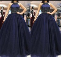 Hot selling Hot Jewel Neck Prom Party Dresses With Sleeveless Beaded Top A Line Sexy Back Sweep Train Evening Dresses Formal Gowns