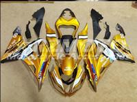 kawasaki ninja 636 gold großhandel-Drei kostenlose schöne Geschenk neue ABS Injection Verkleidungsplatten für Kawasaki Ninja ZX6R 599 636 Karosserie-Set 2013-2016 Goldgelb O80