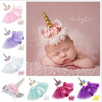 Wholesale photography clothes - Infant Clothing Unicorn Outfit Tutu Skirt with Headband Barefoot Sandals Set Photography Props 100 days Birthday Party Costume KKA4996