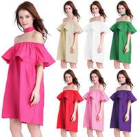 Wholesale Bardot Dress - 2018 Women Summer Short Sleeve Boho Dress Tassel Trim Striped Flounce Bardot Dress Blue Off the Shoulder Shift Dress