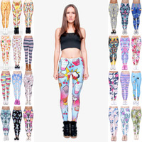 Wholesale Leggings Colorful Prints - Girl Leggings Mix 48 Styles Mix Chips Donut Fast Food Tukan Neon Cat Pug Dance LightDye Colorful Daisy Dreamcatcher 3D Print Pants (JL049)