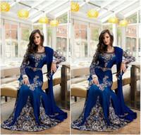 Wholesale Luxury Kaftan - 2018 New Royal Blue Luxury Crystal Muslim Arabic Evening Dresses Applique Lace Abaya Dubai Kaftan Long Plus Size Formal Celebrity Gowns