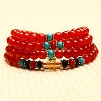 ingrosso pietra del turchese del braccialetto del branello rosso-Braccialetto di agata rossa naturale reale 108 perle gemme di cristallo pietre gioielli regalo di energia per le donne uomini turchese onice turchese braccialetti