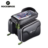 Wholesale denim tube - ROCKBROS Bicycle Waterproof Bag Frame Front Head Top Tube Bike Bag Double IPouch Cycling For 6.0 in Cell Phone Bike Accessories