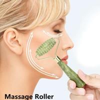 massage rollen nadeln großhandel-Jade Stein Nadel Massager 3D Roller Massager Gesicht Arme Nackenmassage Roller Gesicht Körper SPA Massage Roller