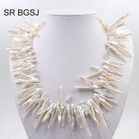 collar llamativo plata blanca al por mayor-Envío gratis 25-30mm blanco rama Biwa perla cultivada nudo plata 925 collar de la declaración del corchete 19