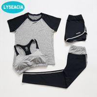 бюстгальтер открытый оптовых-LYSEACIA 4 in1 Sportswear for Women Yoga Set Short Sleeve TShirt Yoga Bra Sport Shorts Fitness Legging Women's Sports Set Summer