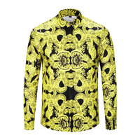siyah parti giysileri erkek toptan satış-Gerçek Reveler Marka giyim erkekler sarı siyah gömlek uzun kollu altın siyah parti kulübü gömlek hip hop gece kulübü erkekler tops