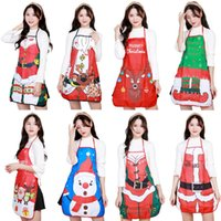 смешные рождественские фартуки оптовых-Christmas Funny Apron Adult Santa Claus Aprons Women Dinner Party Cooking Apron Christmas Gift Wholesale