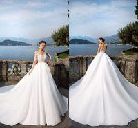 Wholesale Nova T Shirts - 2018 Hot Sales Milla Nova White A Line Wedding Dresses Sheer Long Sleeves Button Back Satin Wedding Gowns Custom Made