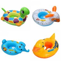 Wholesale pool materials - Baby Cartoon Lifestroke Circle With Handle Image Of A Variety Of Animals Environmental Protection Material Swimming Seat Ring 6lx W