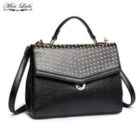 Wholesale Designer Bags Studs - Miss Lulu Women Designer PU Leather Stud Handbag Ladies Fashion Top-handle Tote Girls Cross body Shoulder Messenger Bags YD1819