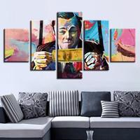bild ebenen großhandel-Leinwand HD Gedruckt Poster Rahmen 5 Stücke Abstrakte Graffiti U.S. Dollar Geld Malerei Modularen Wandkunst Bilder Wohnzimmer Decor
