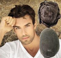 perucas cheias remy indianas do laço polegadas venda por atacado-Rendas francesas peruca dos homens peruca cheia do laço para os homens 8X10 polegadas homens onda sistemas de substituição perucas de cabelo remy indiano