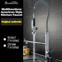 ingrosso rubinetto in ottone finissimo-Spedizione gratuita Vari stile in ottone massiccio cromato finito Pull Out Down Spring Sink Kitchen Faucet 2 funzioni Mixer Tap Faucet