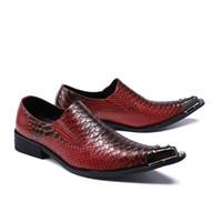 erkek kahverengi yüksek elbise ayakkabıları toptan satış-2018 İtalyan Bussines Sivri Burun Ayakkabı Erkekler Deri Mor Kahverengi Renkler Yüksek Topuklar Oxfords Yılan Cilt Sivri Burun Bordo Elbise Loafers