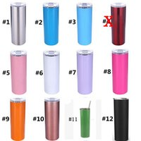 Wholesale 20oz Stainless Steel Skinny Tumbler with Lid and Straw Double Wall Vacuum Insulated straight tumbler matte black coral mint blue MMA694
