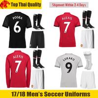 Wholesale Martial Uniforms - 17 18 ALEXIS SANCHEZ Uniforms 2017 2018 POGBA Soccer Sets LUKAKU Football Uniforms IBRAHIMOVIC MARTIAL RASHFORD Long Sleeve Uniforms
