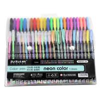 Wholesale box gel pens resale online - 48 Gel Pen Set Metallic Pastel Glitter Neon Gel Pens For Adult Colouring Book