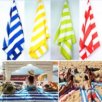 Wholesale Microfiber Towels For Hair - 76*155cm Microfiber Quick Dry Stripe Beach Towel Soft Pouch And Elastic Hook For Hanging Off Ground Beach Blanket For Camping Travel WX9-414