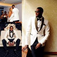 Wholesale groom handkerchief - Handsome One Button Groom Tuxedos Groomsmen Tuxedos (Jacket+Handkerchief+Pants) Men Suits Formal Suit for Men Wedding side vent groom wear
