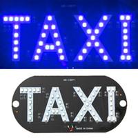 pára-brisas azul venda por atacado-12 V Sucção Car Windshield Windshield Cab Sign LED Azul Luz de Táxi Lâmpada DC 12 V EA10573
