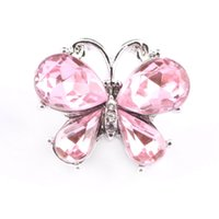 Wholesale Butterfly Music - Pink Crystal Butterfly Ginger Snap Button For DIY Snap Bracelets Trendy Music Note Snap Charms Jewelry Findings