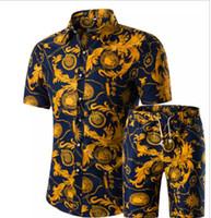 düğmeler ayarlar toptan satış-Erkek Çiçek Pint Düğme Hırka Tshirt Şort Setleri Hawaii Kısa Kollu Tees Casual Kıyafetler Yaz Moda Suits Artı Boyutu