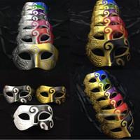 Wholesale full venetian masks resale online - 11 Colors Retro Roman Gladiator Halloween Costume Party Facial Masquerade Mask Venetian Dance Party Mask Men Mask EMS SHIP HH7