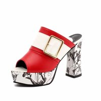 Wholesale women shoe peep toe tie for sale - Group buy 2018 Sexy Summer Women Mules High Heel Sandals Platform Peep Toes Big Buckle Ladies Chunky Shoes Heel High cm